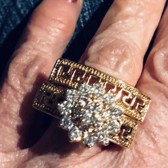 Jewelry - Huge Greek Key CZ Wedding Ring Set Rose Gold -OMG
